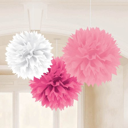Baby shower girl 16 fluffy tissue decorations 3 pack for Baby shower decoration packs