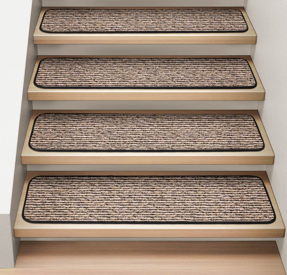 Set of 15 Attachable Indoor Carpet Stair Treads - Black Ripple - 8 In. X 30 In. - Several Other Sizes to Choose From