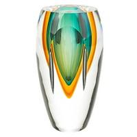 Badash Rimini Murano Style Art Glass Amber and Green Bud Vase