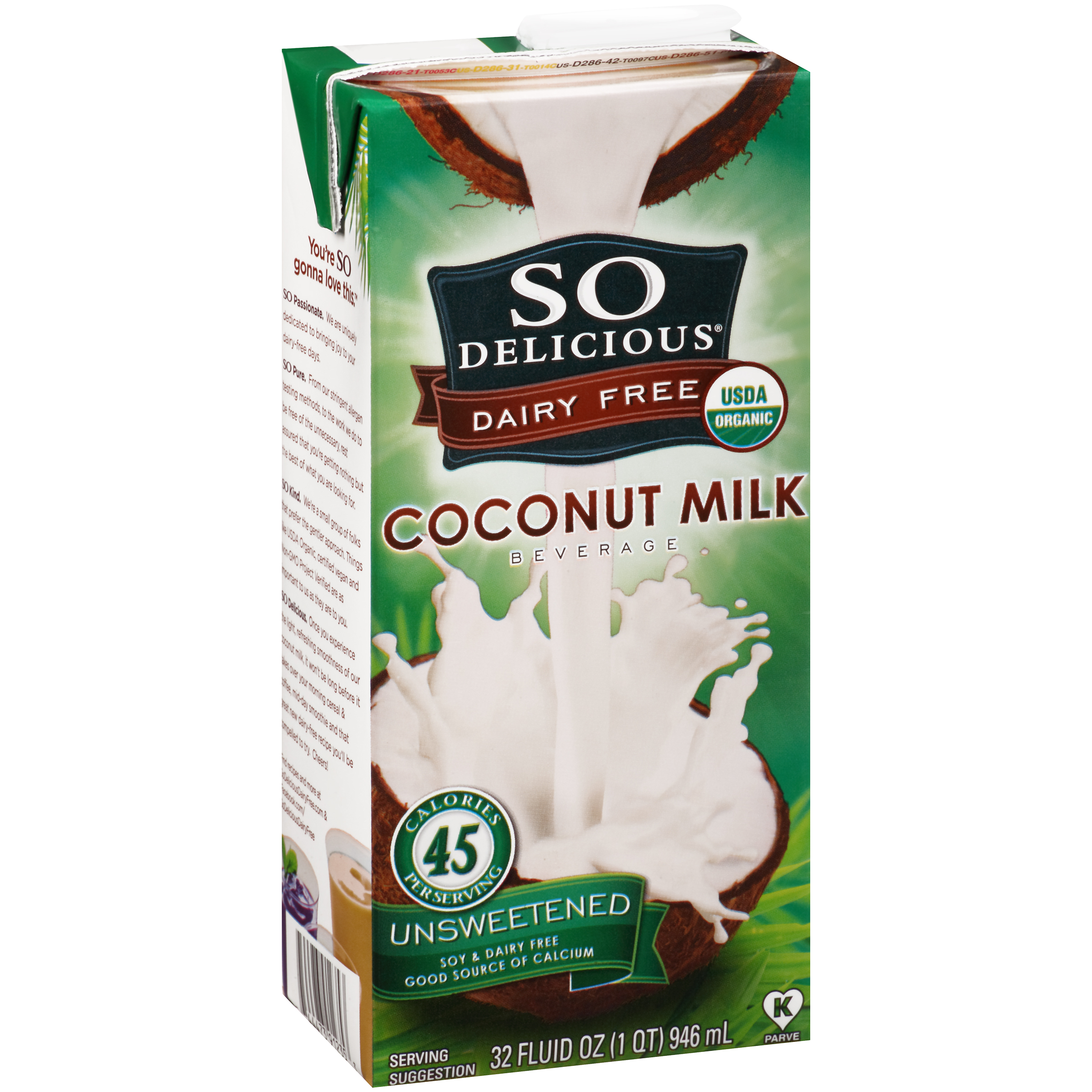 So Delicious�� Dairy Free Unsweetened Coconut Milk Beverage 32 fl. oz. Carton