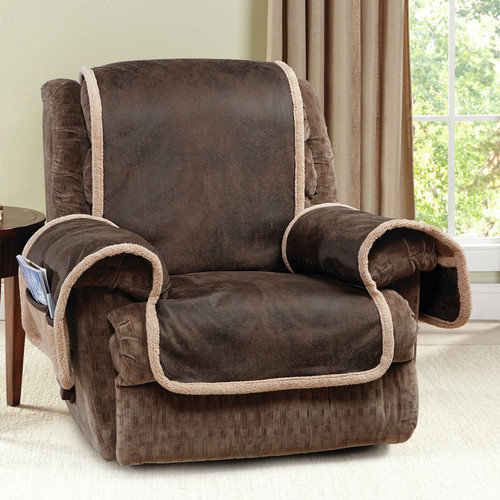 Sure Fit Vintage Leather Quilted Recliner Cover with Pocket Brown