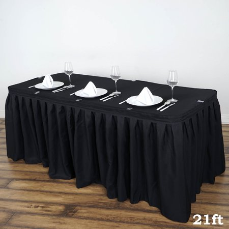 "BalsaCircle 21 feet x 29"" Polyester Banquet Table Skirt - Wedding Party Trade Show Booth Events Linens Decorations"