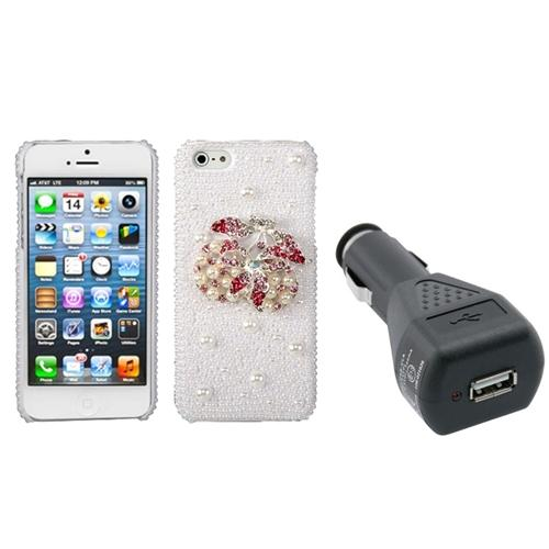 INSTEN Delicious Cherry Pearl 3D Case (with Package) For iPhone 5+USB Car Charger