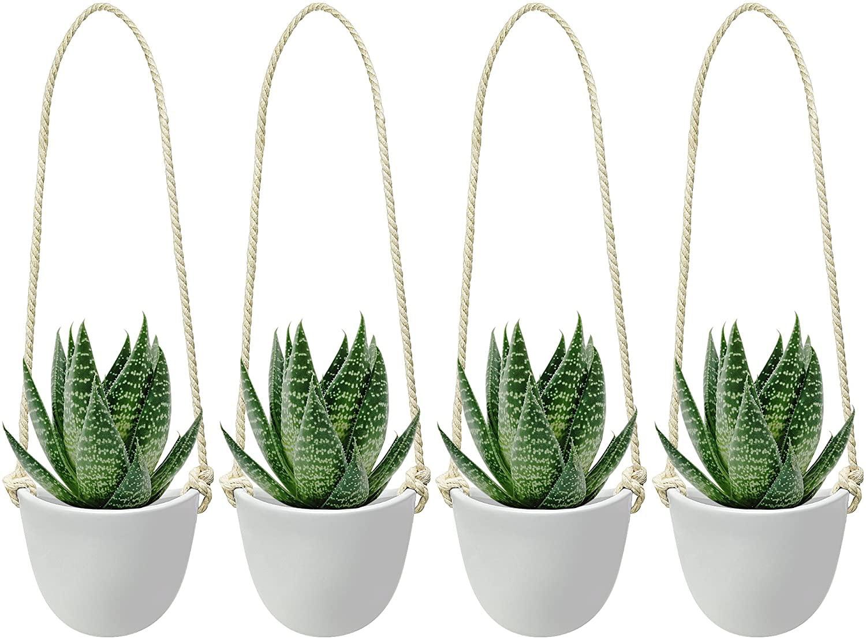 Ceramic Hanging Succulent Planter Modern Wall Decor White Vase Decorative Pots For Indoor Plants Cactus Flower For Home Bedroom Kitchen Rope 4 Pcs Singles Walmart Com Walmart Com
