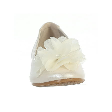 Dempsey Marie Little Girls Flat Flower Dress Shoe (White Girls Dress Shoes)