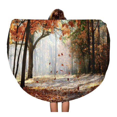 JSDART 60 inch Round Beach Towel Blanket Brown Falling Oak Leaves Scenic Autumn Forest by Morning Travel Circle Circular Towels Mat Tapestry Beach Throw - image 2 de 2