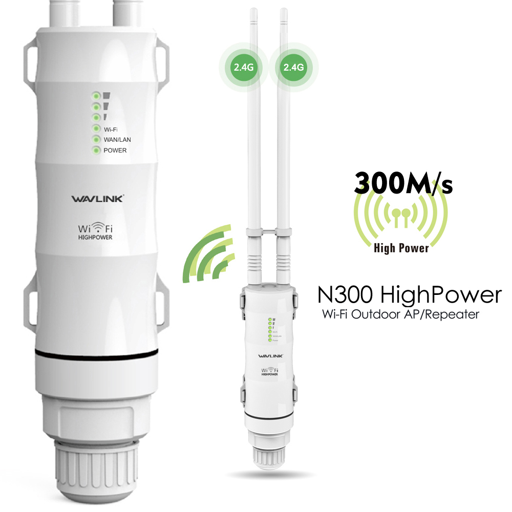 Wavlink N300 High Power Outdoor Access Point/Repeater Wi-Fi Range Extender Dual Omni Directional Antennas, IP65 Waterproof, Ideal for Garden Backyard-A Perfect Solution to Extend Your Wi-Fi Network
