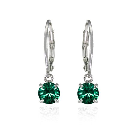 925 Silver Green 6mm Round Dangle Earrings Made w/ Swarovski Crystals