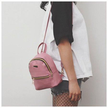 Women Backpack Purse Pu Washed Leather Ladies Rucksack Shoulder Bag Pink - image 7 of 9
