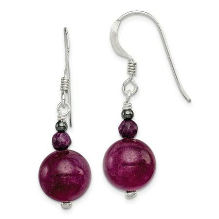 Solid 925 Sterling Silver 11mm Purple Coral Hematite and Purple Jade Dangle Earrings Jade Purple Earrings