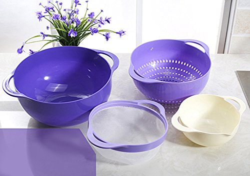 Click here to buy 4 In 1 Colander & Bowl for Fruits Vegetable Cleaning Washing with Integrated Colander and Strainer.