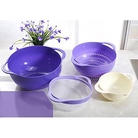 Integrated Bowl - 4 In 1 Colander & Bowl for Fruits Vegetable Cleaning Washing with Integrated Colander and Strainer