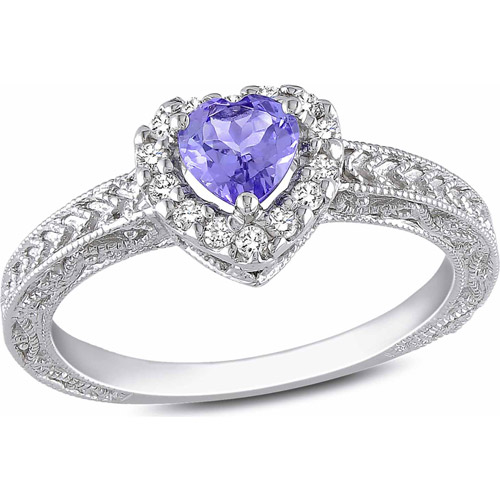 3/8 Carat T.G.W. Tanzanite and 1/7 Carat T.W. Diamond Sterling Silver Heart Ring