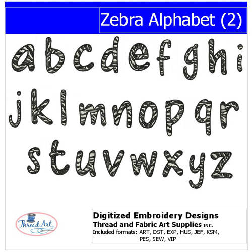 Threadart Machine Embroidery Designs Zebra Alphabet(2) CD