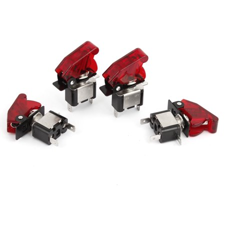 (Unique Bargains Car Boat SPST Red LED Light 12V 20A Metal Tip Toggle ON/OFF Switch 4 Pcs)