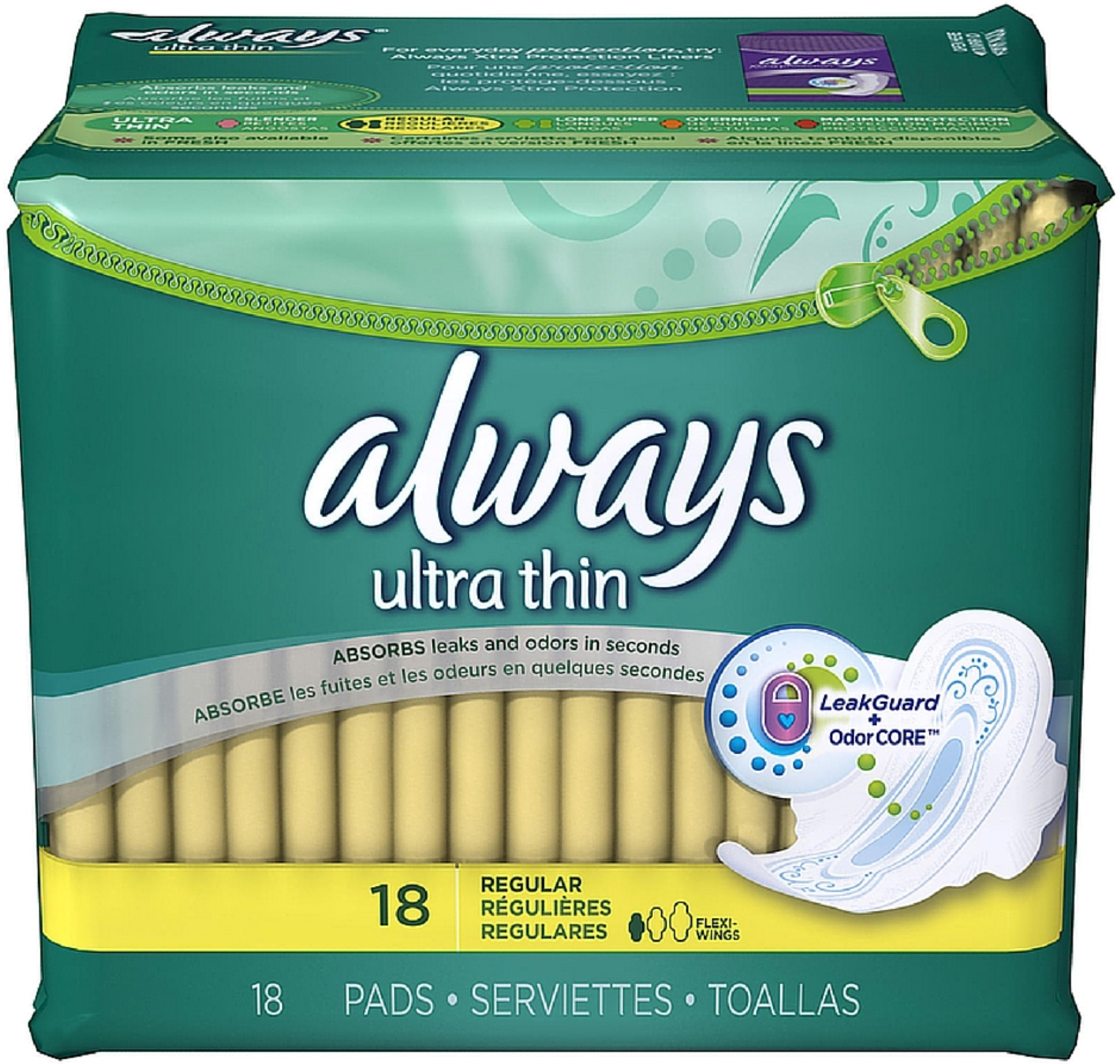 Always Ultra Thin Pads Regular Flexi-Wings 18 ea (Pack of 3)