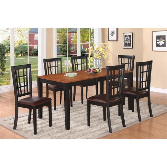 East West Furniture NICO7-BLK-LC Nicoli 7PC Set with Rectangular Dining Table featured 12 in Butterfly Leaf and 6 Faux