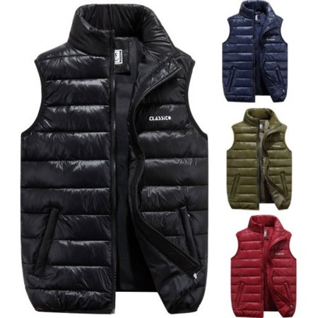 5c29ccd168fc Emmababy - Men´s Winter Outdoor Casual Stand Collar Quilted Down Puffer  Vest Coats (L