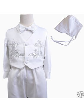Baby Boy & Toddler Christen Baptism vest shorts Suit Gown Outfits sz XS-4T white