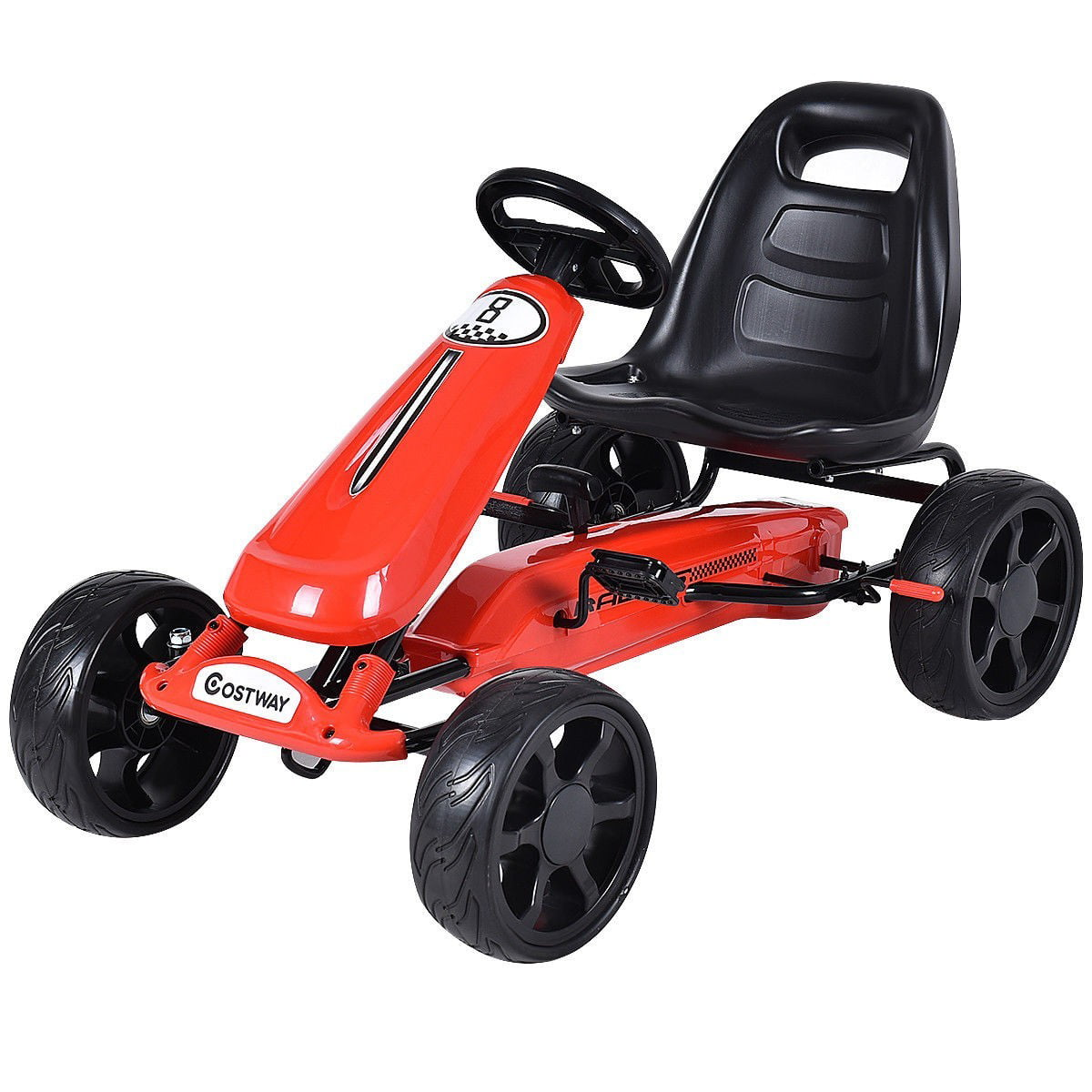 Outdoor Kids 4 Wheel Pedal Powered Riding Kart Car Red by