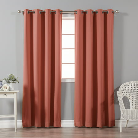 Quality Home Basic Thermal Blackout Curtains - Stainless Steel Nickel Grommet Top - Brick (Set of 2 Panels)