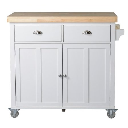 Alcott Hill Clarendon Kitchen Island with Wood Top