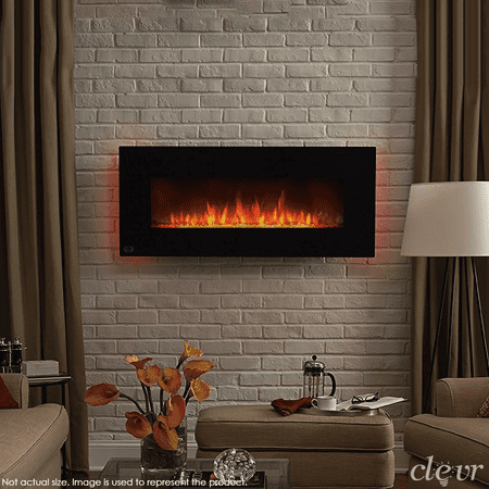 clevr 39 adjustable electric wall mount fireplace heater 750 1500w mordern black heat with. Black Bedroom Furniture Sets. Home Design Ideas