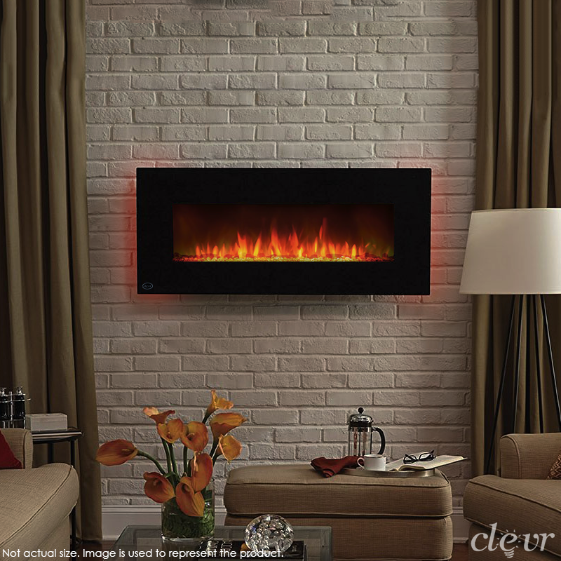"Clevr 39"" Adjustable Electric Wall Mount Fireplace Heater, 750-1500W Mordern Black Heat with Decorative Crystals, Adjustable Front and Back Light Color"