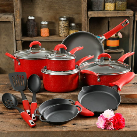 The Pioneer Woman Vintage Speckle Red Cookware Set, 17 Piece
