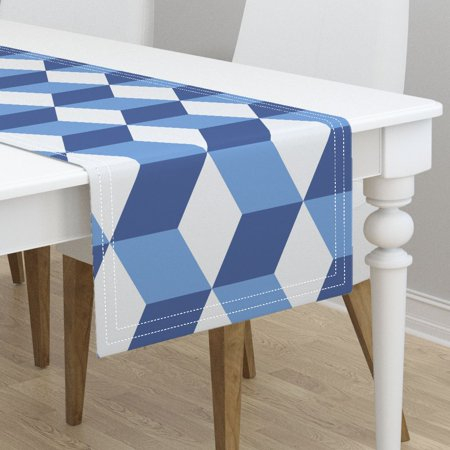 Table Runner Optical Illusion Hex Blue And White Hexagon Tile Cotton Sateen - Blue And White Table Runner