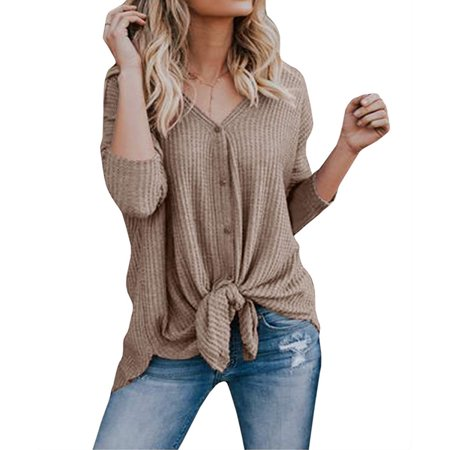334edfa4 Emmababy - Womens Waffle Knit Tunic Blouse Tie Knot Loose Fitting ...