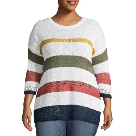 Terra & Sky Women's Plus Size Scoop Neck Open Stitch Striped Sweater Scoop Neck Sweater Vest