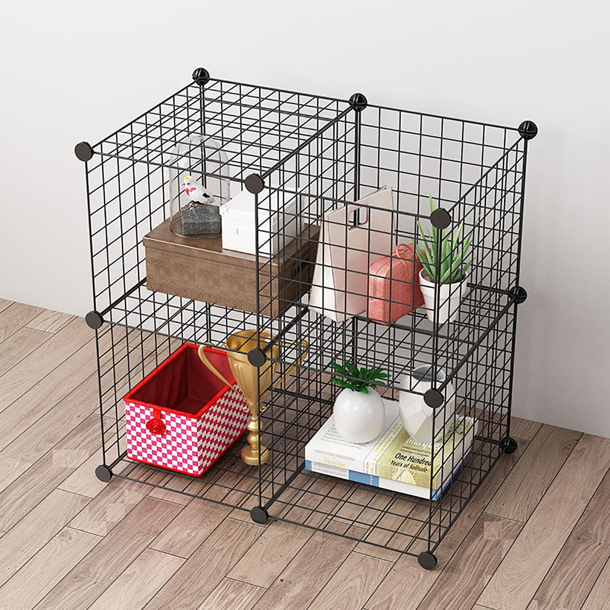 Metal Wire Cube Storage 4 12 Cube Shelves Organizer Stackable Storage Bins Modular Bookcase Diy Closet Cabinet Shelf For Home Office Black Walmart Com Walmart Com