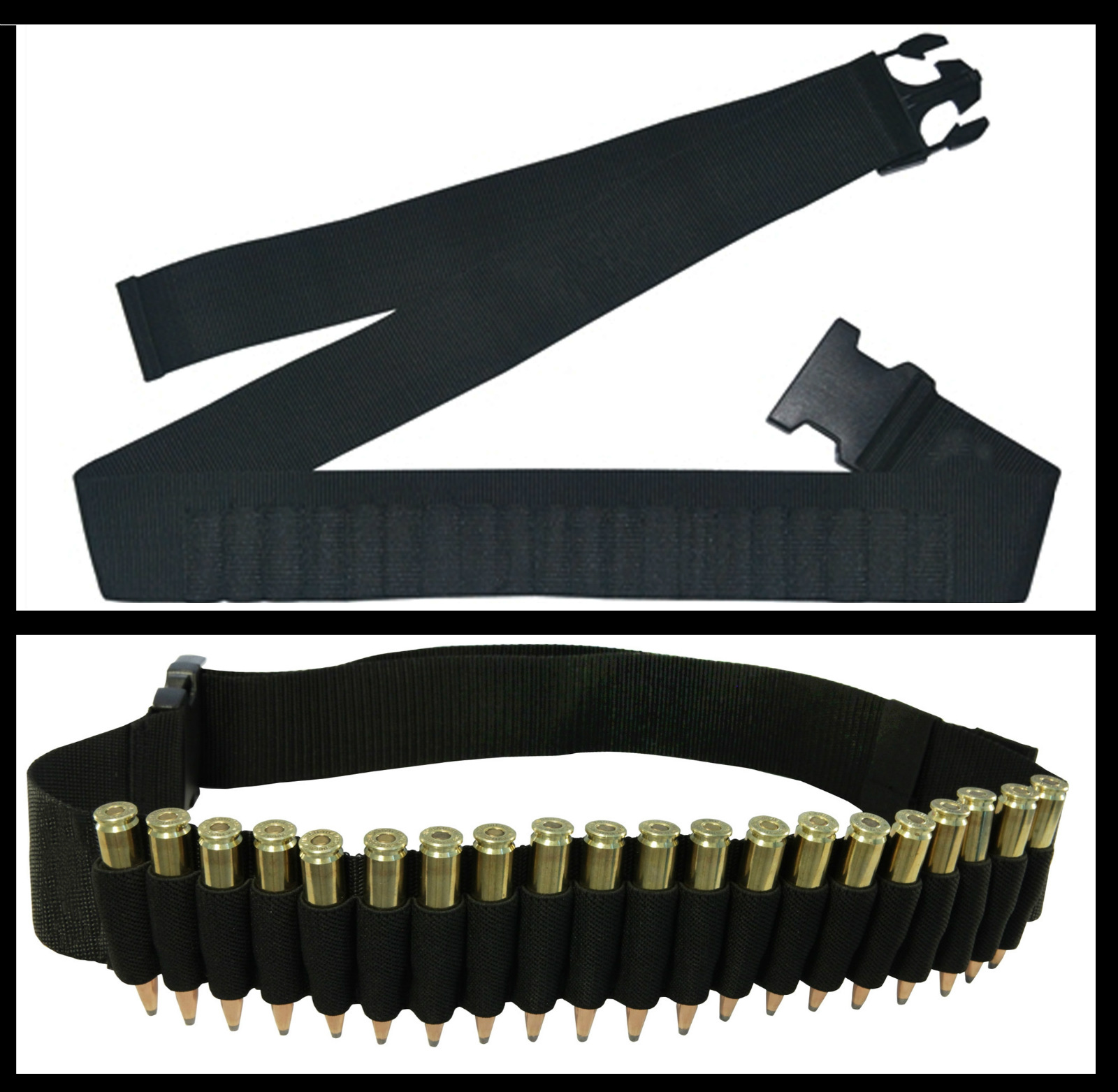 Ultimate Arms Gear Stealth Black 20 Round Rifle Cartridge Ammunition Ammo Reload Carrier Tactical Belt Fits .223 223 5.56 556 Winchester Model 700 Bolt Lever Action Sniper Hunting Rifle