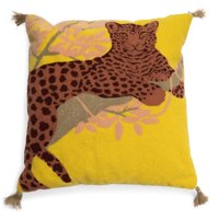 """Leopard Boucle Embroidered Decorative Throw Pillow, 20x20"""" by Drew Barrymore Flower Home"""