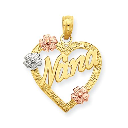 14K Tri-color Nana in Heart with Flowers Pendant K4083