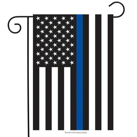 Flag Vintage Patriotic Postcard - Thin Blue Line Police Garden Flag Patriotic Emergency Services 12.5