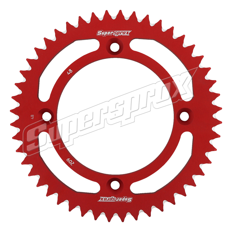 New Supersprox Red Aluminum Sprocket, 48T, Chain Size 420, Ral-209-48-Red