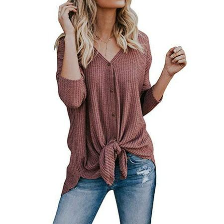 - Womens Waffle Knit Tunic Blouse Tie Knot Henley Tops Bat Wing Plain Shirts