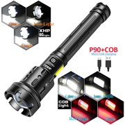 7 Mode Light P90+COB 90000 lumens Powerful Flashlight Rechargeable Waterproof Searchlight Led Flashlight USB Zoom Torch Best New for Hiking Outdoor Sport (Battery Not Included)