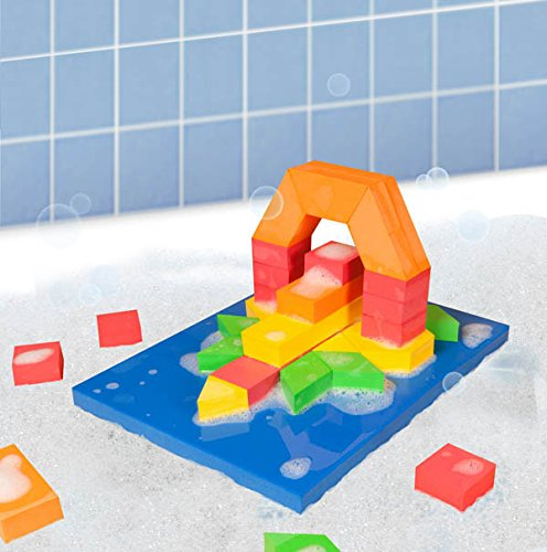 Stem Discovery Blocks Bathtub Toy, BathBlocks floating STEM discovery blocks let children create patterns, discover counting and fractions, build arches and more in.., By BathBlocks