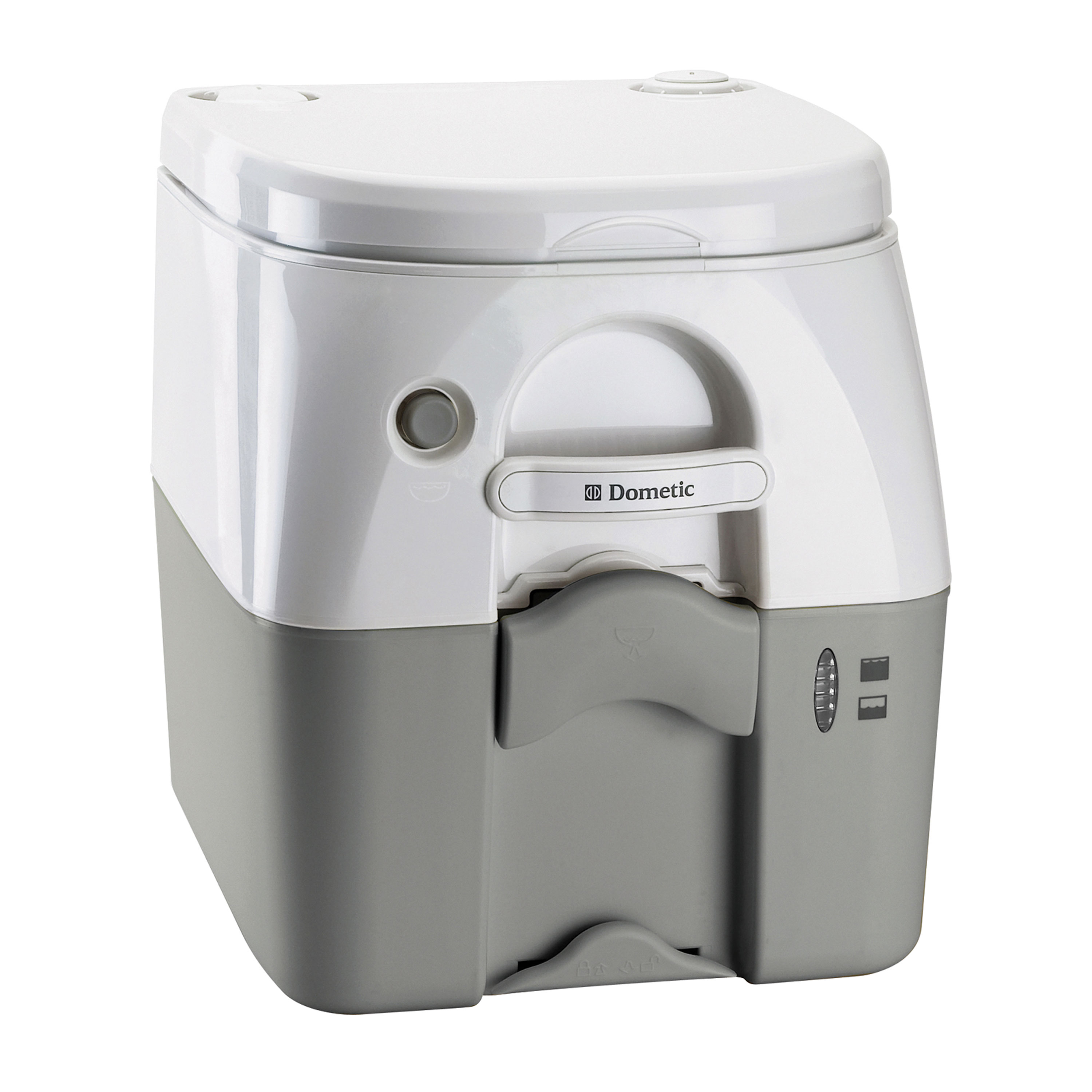 Dometic 301097506 970 Series Portable Toilet - 5.0 Gallon, Gray with Stainless Steel Hold-Down Brackets