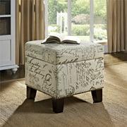 Dorel Living Blake Cube Ottoman with Storage Space, Script Pattern