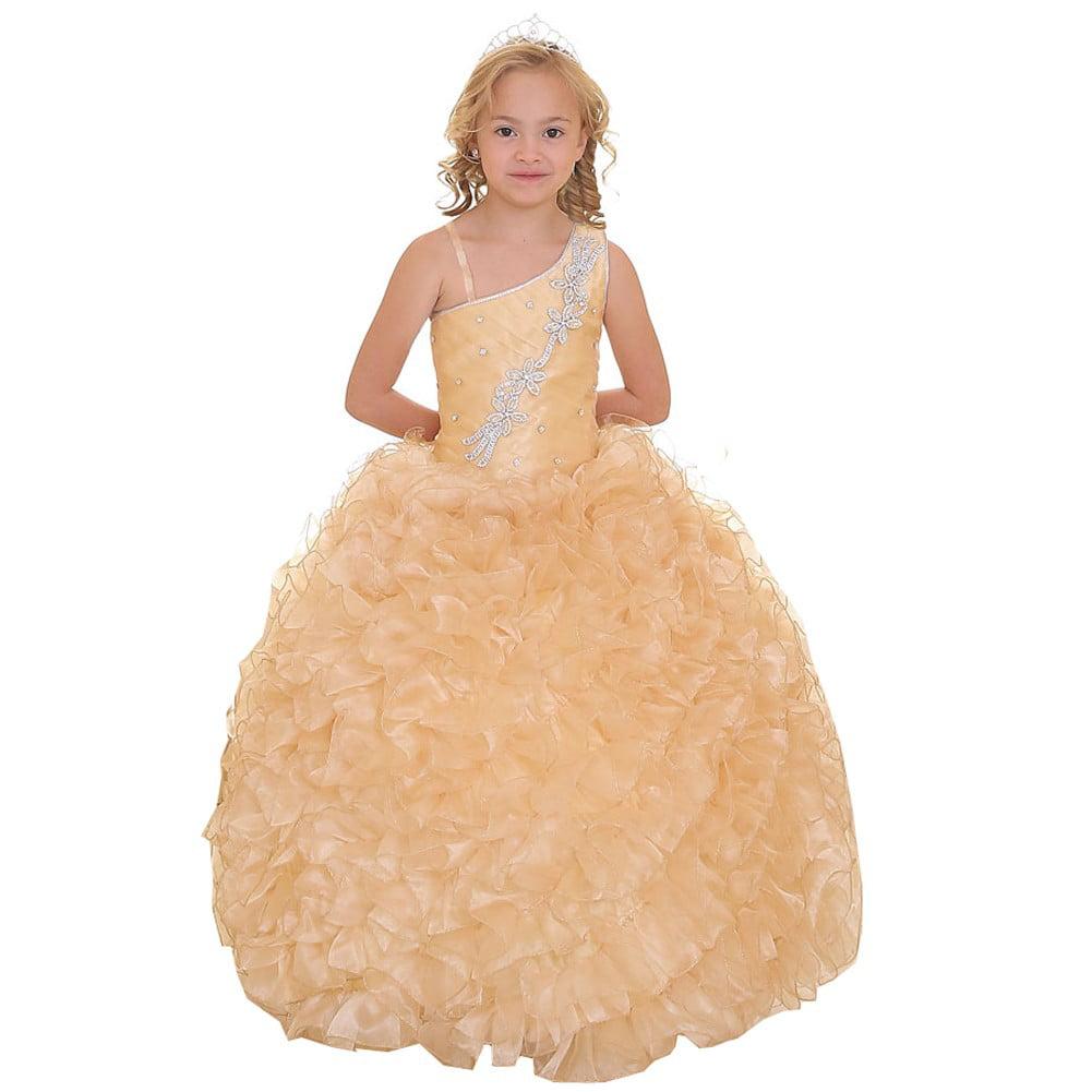 Girls Gold Single Shoulder Strap Pageant Dress 8-12