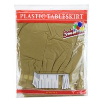 """Gold  29""""H X 14'L Plastic Disposable Party Table Skirt"""