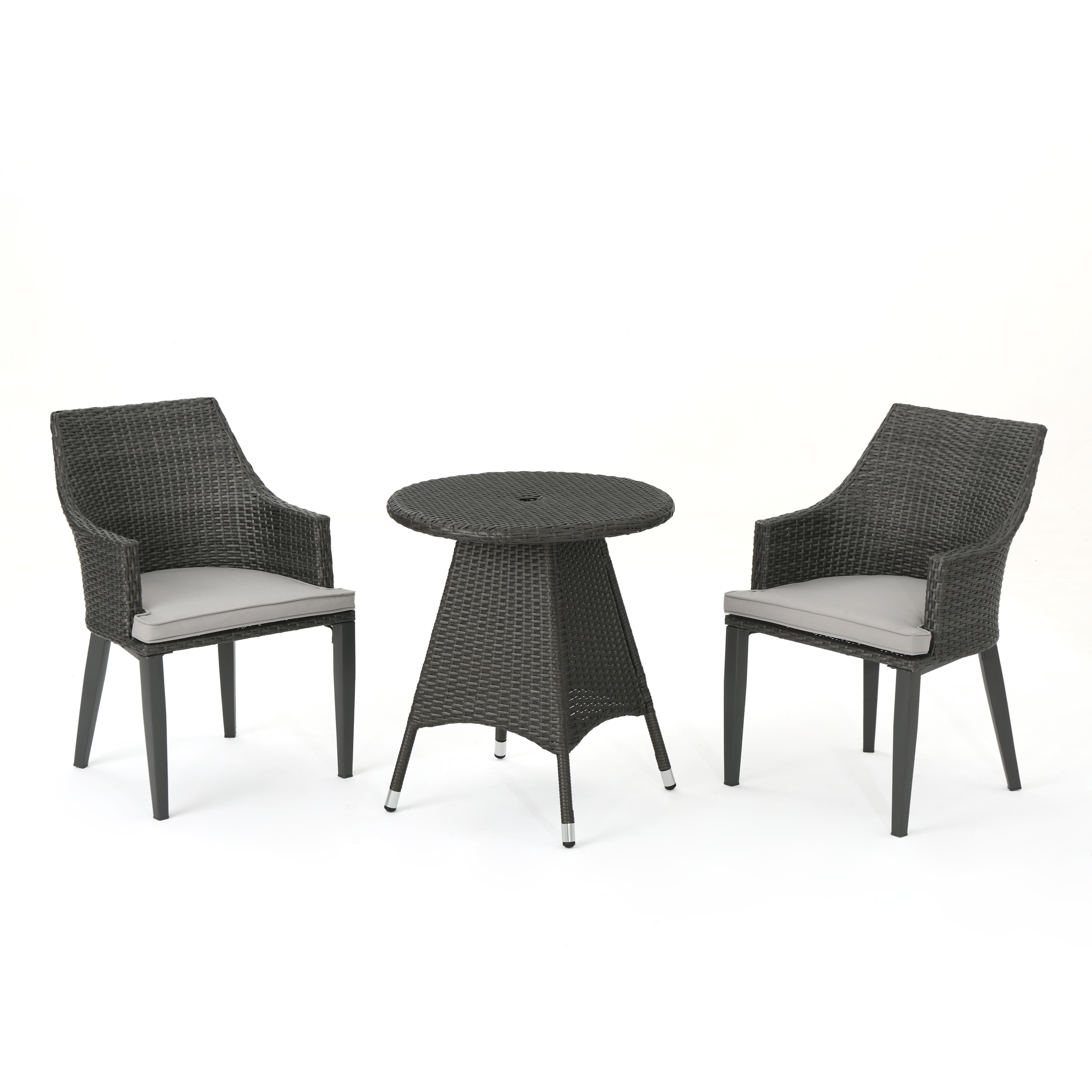 Leeward Outdoor 3 Piece Wicker Round Bistro Set with Weather Resistant Cushions, Grey and Light Grey