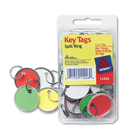 Avery Card Stock Metal Rim Key Tags  1 1 4 Dia  Assorted Colors  50 Pack