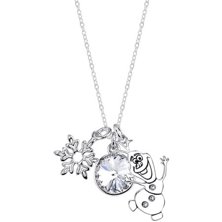 10mm Clear Crystal Silver-Tone Some People Are Worth Melting For Frozen Olaf Necklace, 18](Disney Princess Necklace)