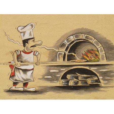 Canvas Print Pizzeria Bake Chef Pizza Oven Pizza Maker Pizza Stretched Canvas 32 x 24 - Pizzeria Decor
