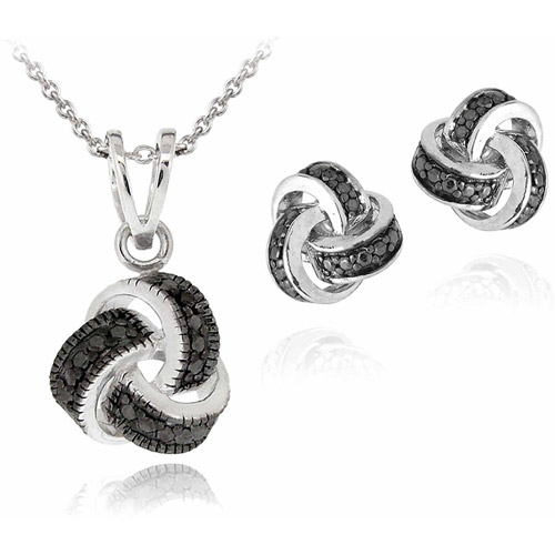 Black Diamond Accent Silver-Tone Love Knot Necklace and Earrings Set